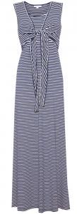 Navy Stripe Maternity & Nursing Maxi Dress - Cut out